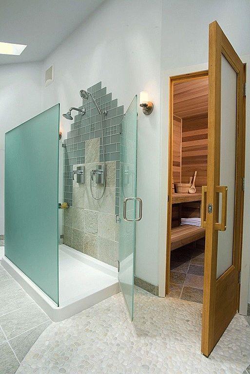 Современный душ в бане