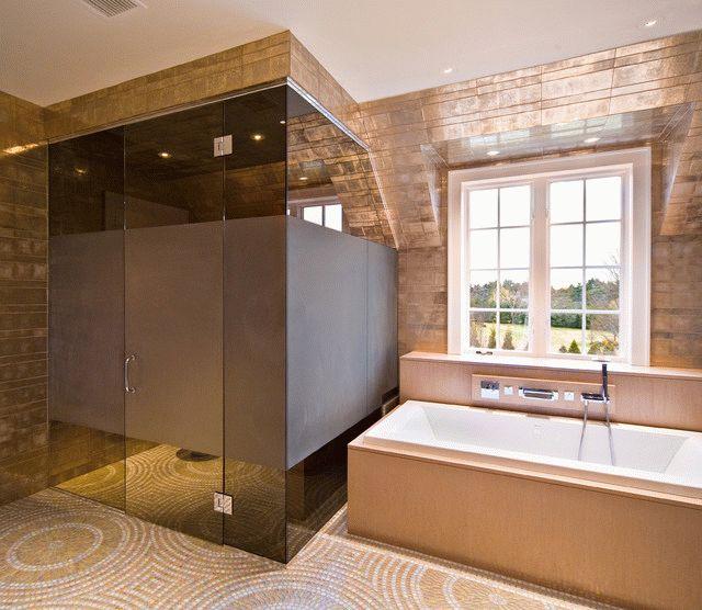 Затемнённое стекло в душ