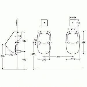 Схема монтажа писсуара