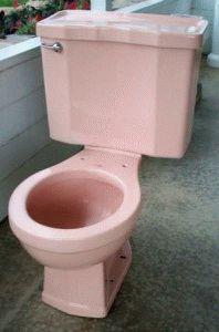 Розовый унитаз